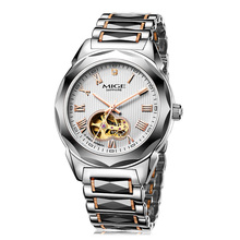 Hot Sale Top Brand Mechanical Watches White Tungsten Watchband Automatic Relogio Masculino Waterproof Skeleton Mans Watch