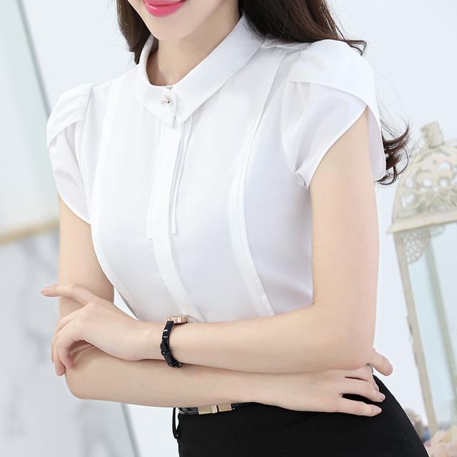 Mrs win 4XL plus size summer women shirt New fashion 2017 Summer women chiffon blouse Elegant Slim short sleeved women OL shirts