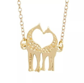 Love Heart Giraffe Necklace Simple Cute Twin Baby Deer Animal Elk Antler Glamour pendant Necklace for Lovers Love Jewelry