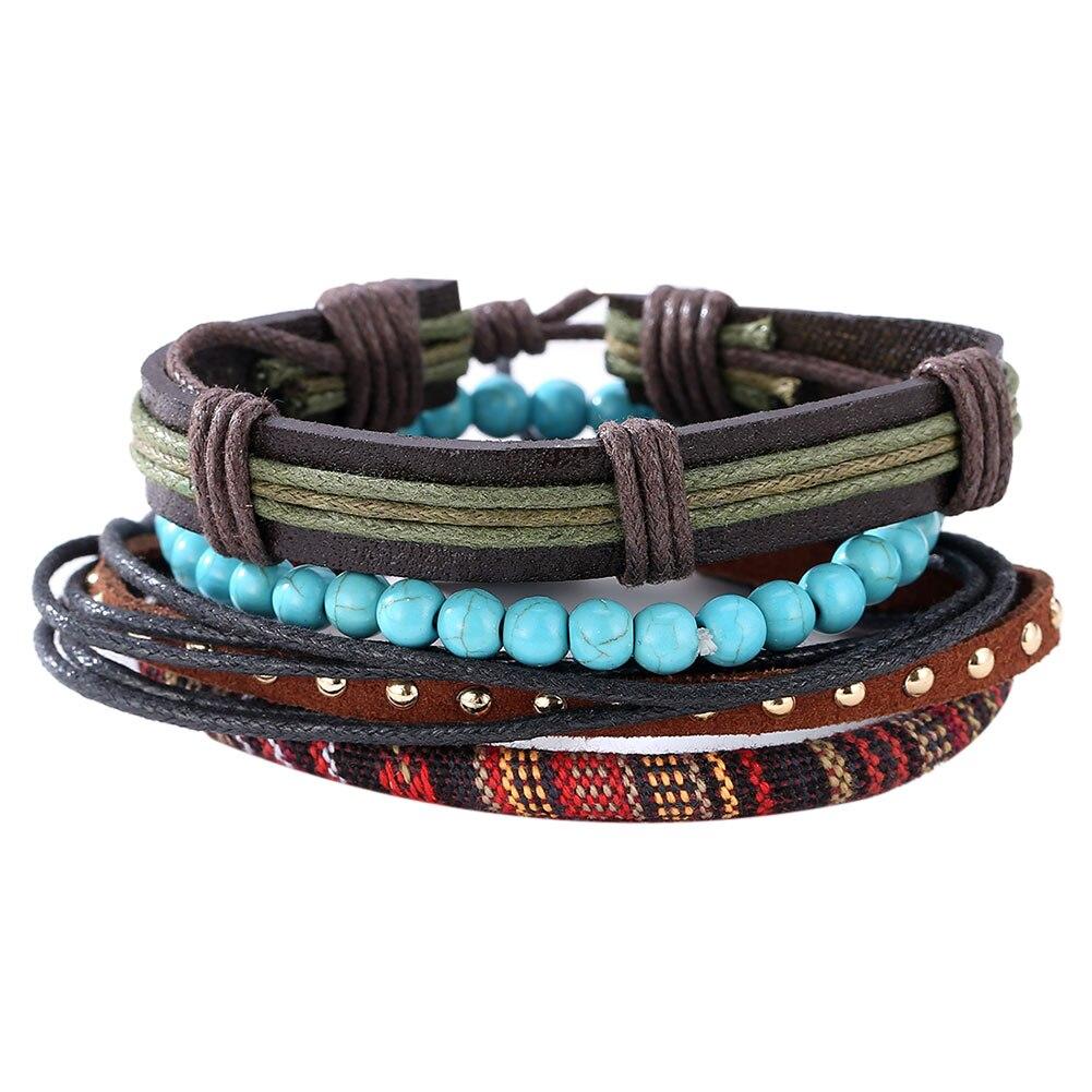 Handmade Mens Leather Bracelets 2017 Adjustable Multilayer Bead Bracelet Men Bohemian Vintage Leather Charm Bracelet