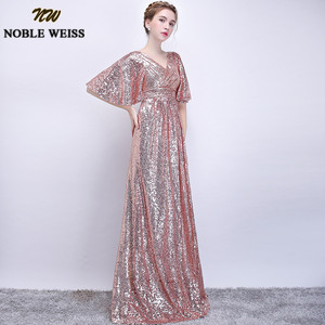 Image 2 - NOBLE WEISS Elegant Pink Sequined Prom Dresses 2019 Sexy V Neck Long Vestido De Festa for Party Gowns African Dress Pageant Wear