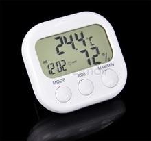 Discount! 6Pcs/Lot Indoor Digital LCD Temperature Thermometer Humidity Meter Hygrometer Clock TK0440