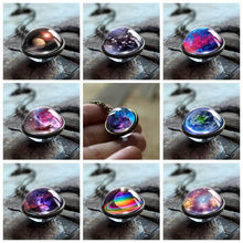 Nebula Galaxy Double Sided Pendant Necklace Universe Planet Jewelry Glass Art Picture Handmade Statement Necklace Collier Femme(China)