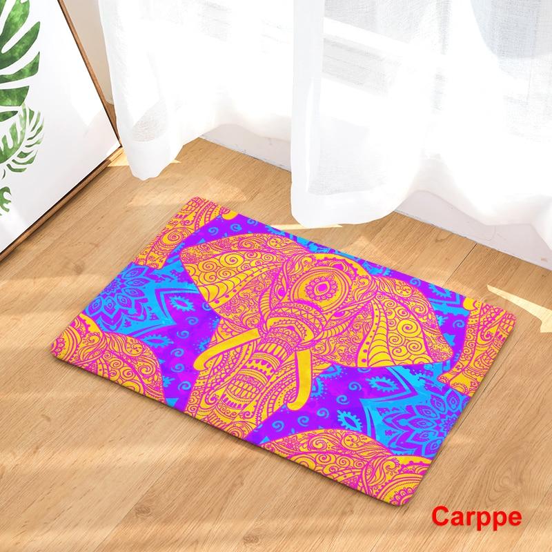 India Style Elephant Print Carpets Anti-slip Floor Mat Outdoor Rugs Co Front Door Mats