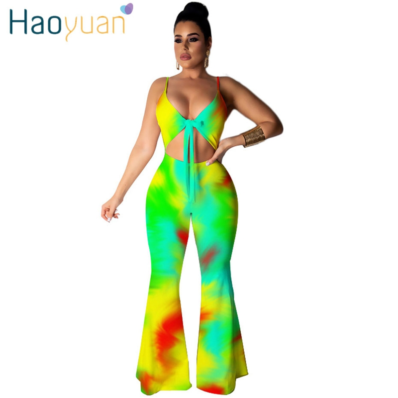 HAOYUAN Rainbow Tie Dye Sexy Bodycon   Jumpsuits   Backless Summer Overalls Rave Festival Neon One Piece Rompers Womens   Jumpsuit