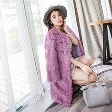 Free shipping 2016 Winter plus size Women Warm Garment Fashion Real Rabbit Fur Coat Medium Length Jacket Christmas Party Clothes