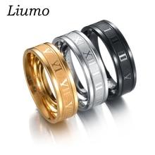 Liumo Hot Roman Numerals Gold-Color Black Men Women Ring 316L Stainless Steel 3 Colors lr008