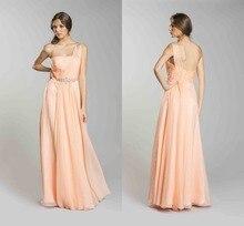 2015 neue A-linie Einer Schulter Lange Chiffon Abendkleid Bodenlangen Abendkleid Friesen Formales Kleid Drapierte Vestido Denone F509