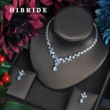 HIBRIDE أزياء واضحة كريستال زركون المرأة مجموعات مجوهرات كاملة القرط قلادة مجموعة فستان اكسسوارات حفلة عرض N 338
