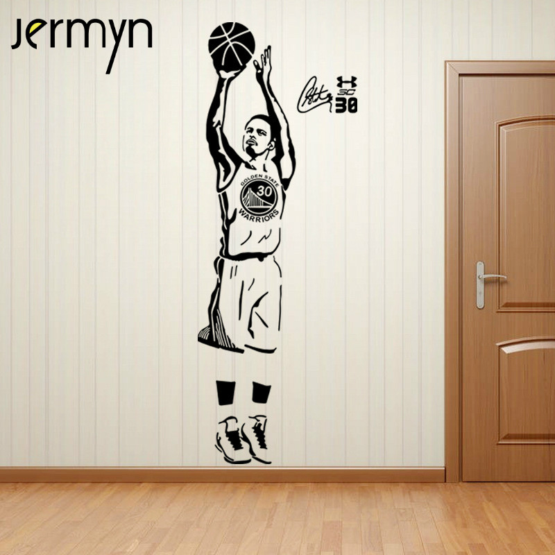Buy jermyn 3d stephen curry wall stickers for Basketball mural wallpaper