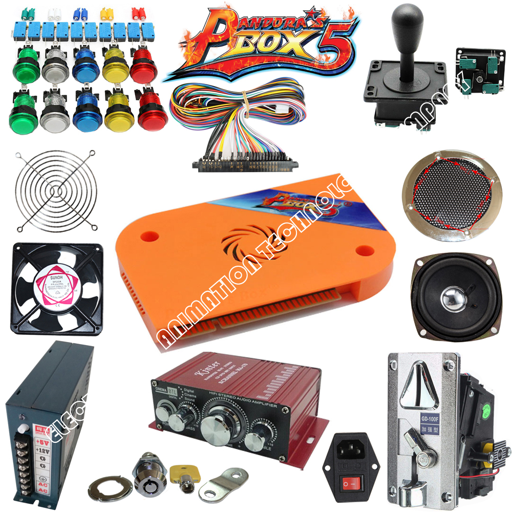 Arcade parts Bundles With Illuminated button LED bulbs holders nuts Joystick player buttons Microswitch Pandora Box 4