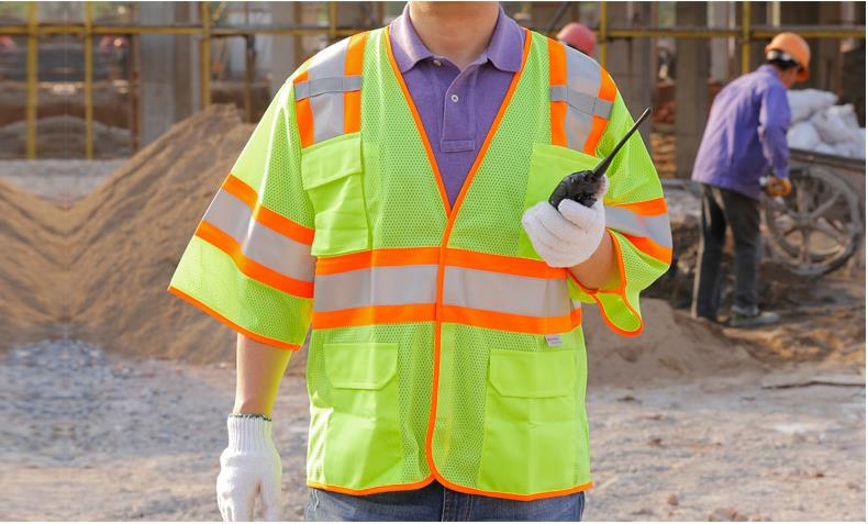 Short Sleeve Reflective Mesh Vest Multi Function Pocket