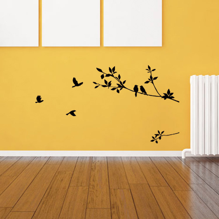 Birds on the Black Tree Branch Wall Decal Sticker Living Room ...