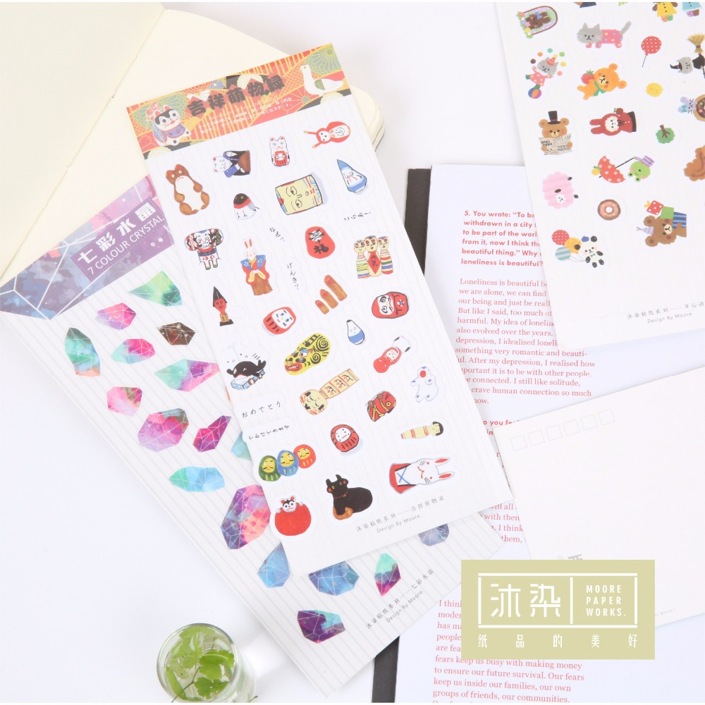 New! Cute Kawaii Mini Animal Plant Food Text Pvc Transparent Korean Stickers Papers Flakes Kids Decorative For Cards Stationery 14pcs creative kawaii lovely cute self made victoria rabbit animal stickers trolley case computer notebook stickers luggage