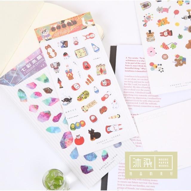 ¡ Nuevo! lindo Kawaii Mini Animal Planta de Alimentos Texto Coreano Copos de Papeles Pegatinas Niños Decorativo de Pvc Transparente Para Tarjetas de Papelería