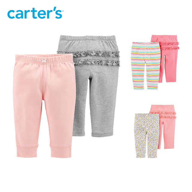 17322ce34 Carter's 2 Pack Pull-On Pants Autumn cotton baby girl pants soft casual  elastic waist long trousers 126H541/126H542/126H614