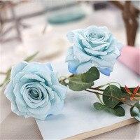 ブルーローズ人工シルク花大きな花束フローレスホームパーティー春結婚式装飾マリアージュフェイクフラワー