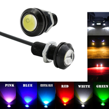 1pcs  12V 18MM LED eagle eye car fog DRL daytime reverse parking signal yellow blue white red waterproof running lights