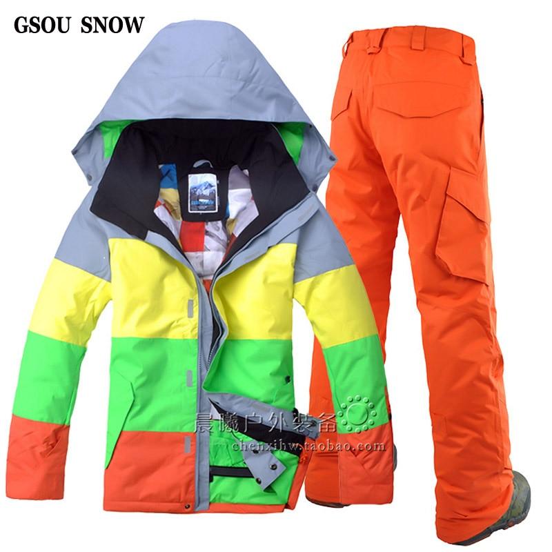 Hiver NEW ski veste et pantalon de ski en plein air de loisirs hommes imperméable Respirant ski costume masculin double conseil Snowboard ski costume