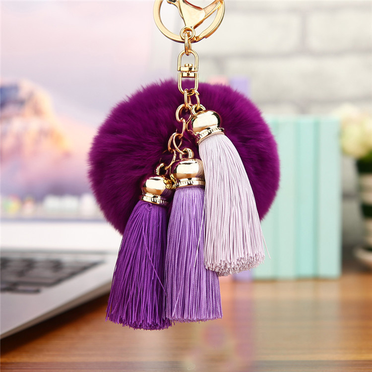 Hot sale CuteTassel <font><b>Pompom</b></font> Tassel Car Keychain Pendant Fur Ball <font><b>Key</b></font> chain Real Rabbit Fur Plush Fur <font><b>Key</b></font> <font><b>Ring</b></font> Holder EH404 image