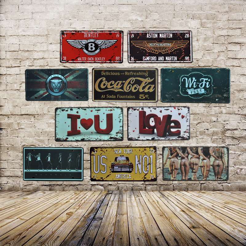 HOME Number License Metal Tin Sign Vintage Home Decor Painting Bar Garage Cafe Wall Poster Iron