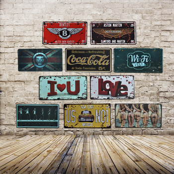 HOME Number License Metal Tin Sign Vintage Home Decor Painting Bar Garage Cafe Wall Poster Iron Car Plate Plaque Decals Gifts
