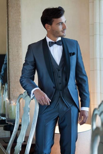 Venta caliente Barato Azul Marino Trajes Para Hombre Personalizados Mejores trajes de Hombre traje Boda Del Novio Esmoquin Padrino de boda Traje de Chaqueta + Pantalones + Vest