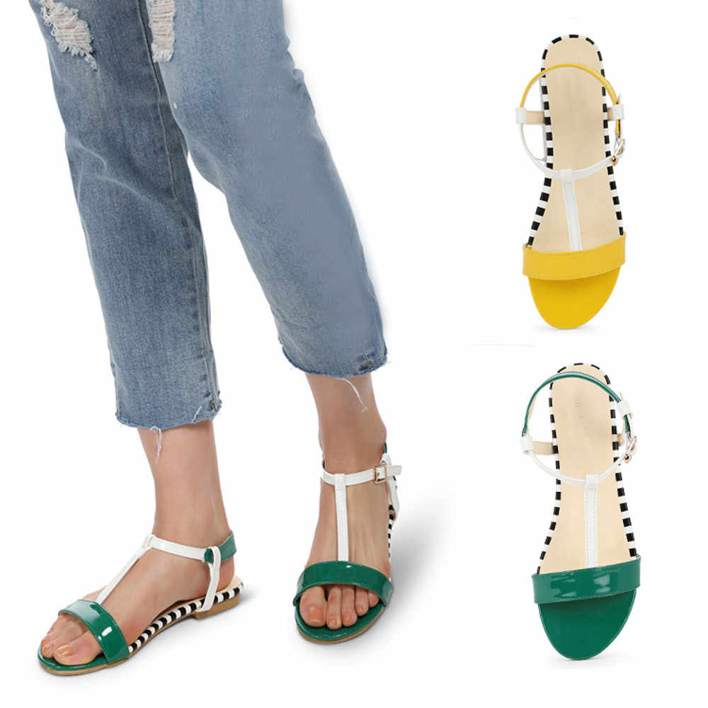 YOUYEDIAN chaussures femme ete 2019 women sandals Summer Round Toe Breathable Peep-Toe Beach Sandals Rome Casual Flat Shoes #G30
