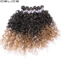 Delice 6pcs/lot Women's Water Wave Hair Weaving Ombre Hair Extensions Wavy Weft Synthetic Hair Weave 16 20