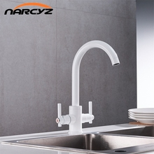 Free Shipping White color Kitchen Faucets Double Hands Round Bathroom Sinks Wall in Taps Double Hole