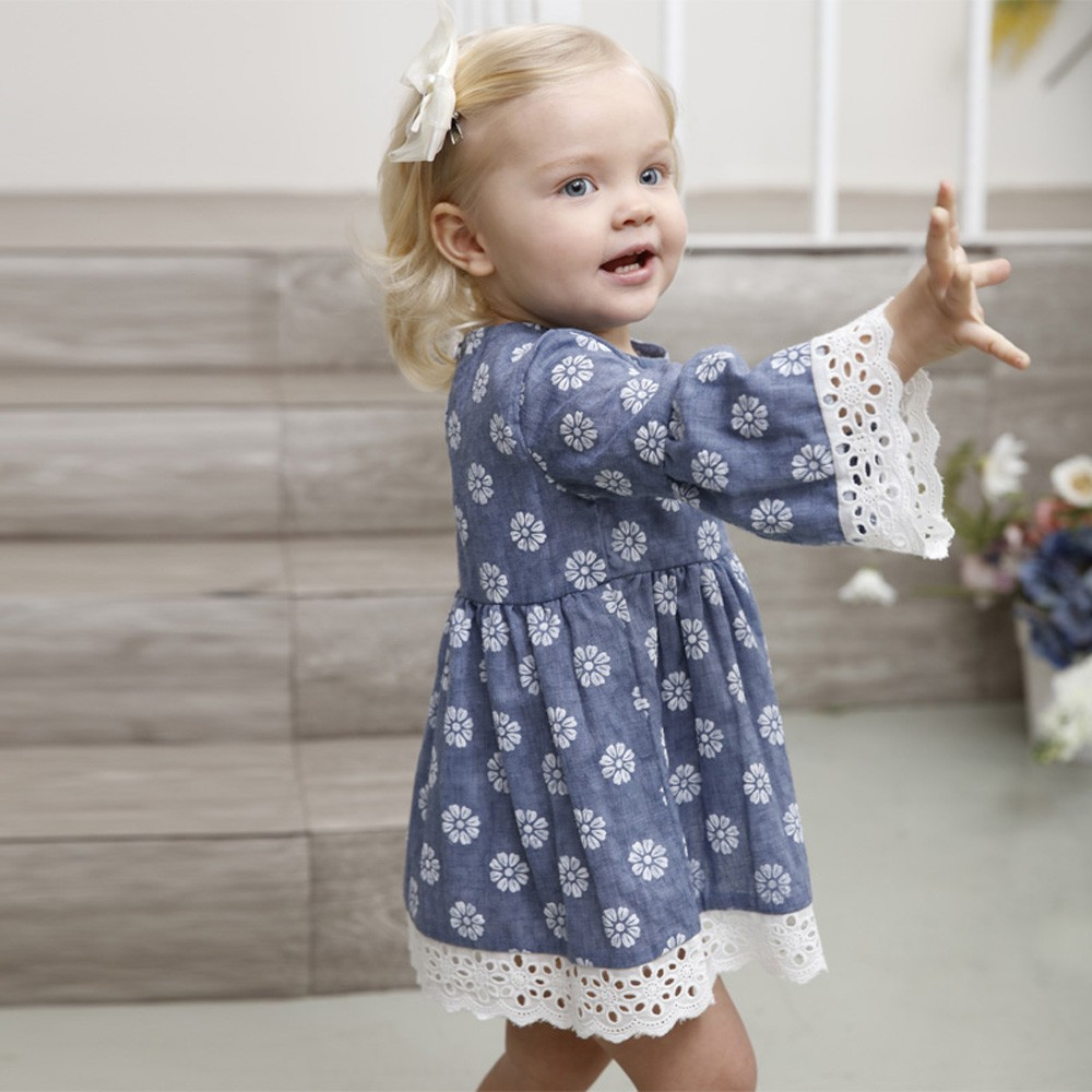 Baby Girls Dress  Lace Floral Print Party Wedding Princess Dresses Kids Toddler Clothes Robe Vestido Verano Bebe 1-5 Years
