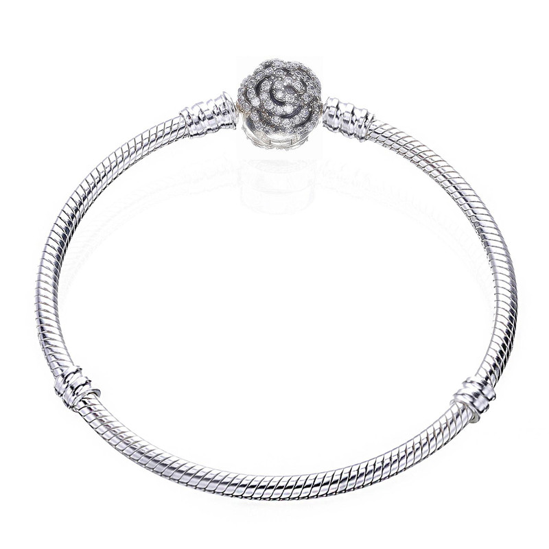 New 100% 925 Sterling Silver Bead Charm Snake Chain Fit Original Bloom Clasp Pandora Bracelet for Women DIY Europe Jewelry Gift