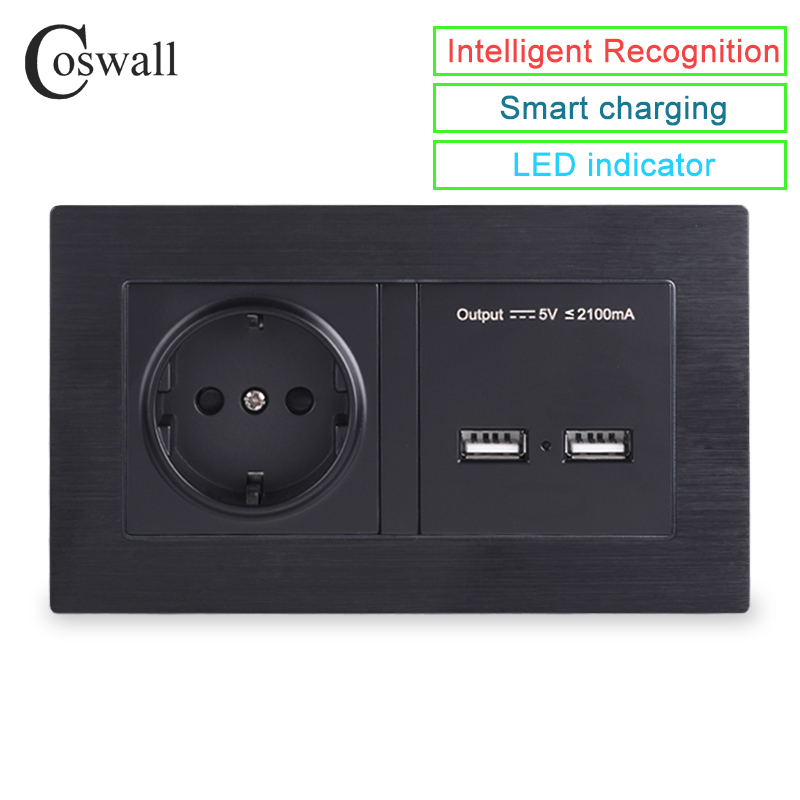 COSWALL Aluminum Metal Panel Wall Socket EU Standard Power Outlet With Dual USB Smart Induction Charge Port For Mobile 5V 2.1A