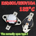 10Pcs/Lot KSD301 250V10A 125 Degrees Celsius 125 C Normal Open ( N O ) Temperature Controlled Switch Thermostat