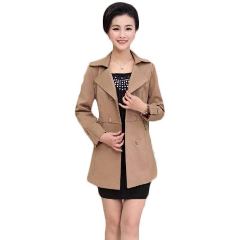 Mujeres chaqueta más tamaño larga sección delgada otoño primavera dress madre de