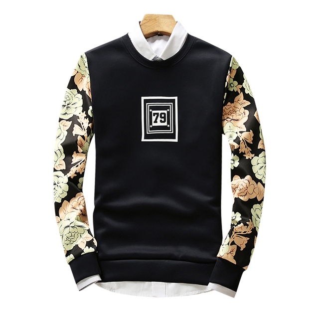 wetailor Men Sweatshirts Print 79  Casual Pullover 2016 New Arrival Fashion Brand  Hip Hop O-Neck Sweatshirt for mens
