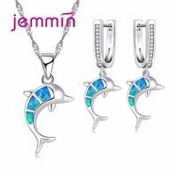 Jemmin Cute Dolphin Fire Blue Opal Stones 925 Sterling Silver Jewelry Sets For Women Necklace Pendant