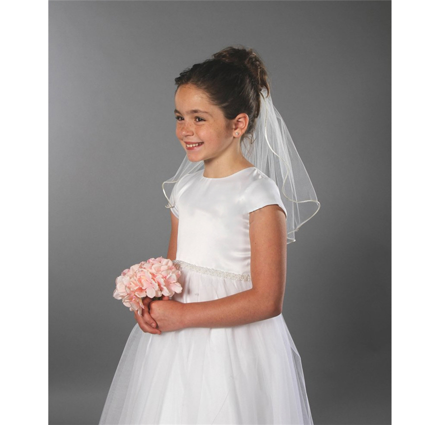 Short Kid Girls First Communion Veils Two Layers With Comb Pencil Edge Wedding Flower Girl Veil Tulle Voile Fille Communion Cute