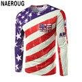 Bandeira Americana Impressão 3D T-shirt dos homens Hipster Manga Longa Tarja Camisa Moda Top Rua Bonito Camisa Impressão Digital T