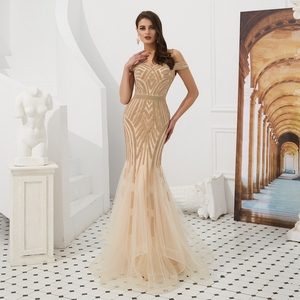 Image 4 - אירוסין ערב שמלות אלגנטי מפלגה חרוזים ריינסטון רוז זהב בת ים קצר שרוולים ספגטי רצועה ארוך נשף שמלה פורמלית