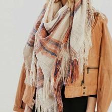 Za Winter Scarf Oversize Blanket Tartan Plaid Scarves Designer Women Bandana Acrylic Scarf Shawl 140x140cm Wrap