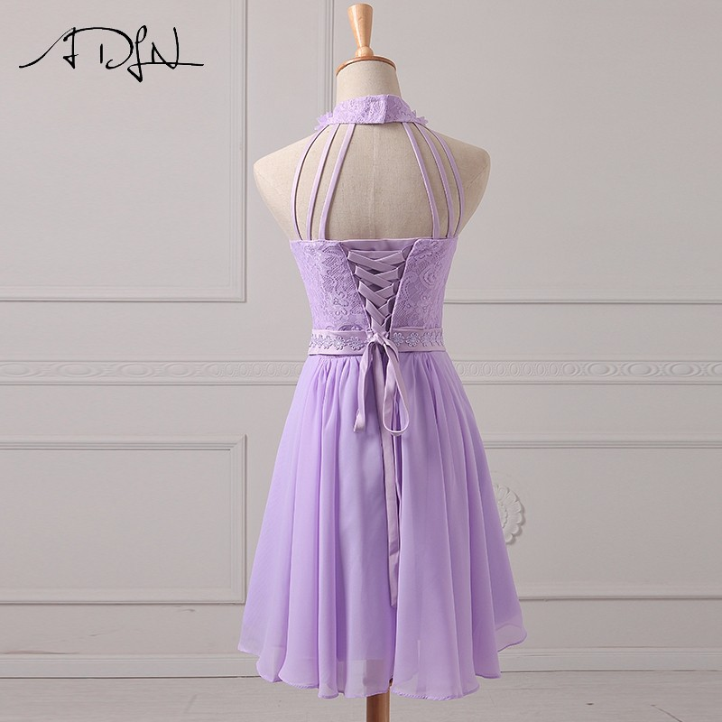 fd158b19d3dc ADLN Halter Chiffon A Line Lilac Bridesmaid Dresses Lace Wedding ...