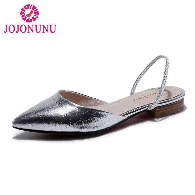 JOJONUNU Size 33 43 Sexy Women Real Genuine Leather Flats Sandals Pattern Pointed Toe Flat Slippers