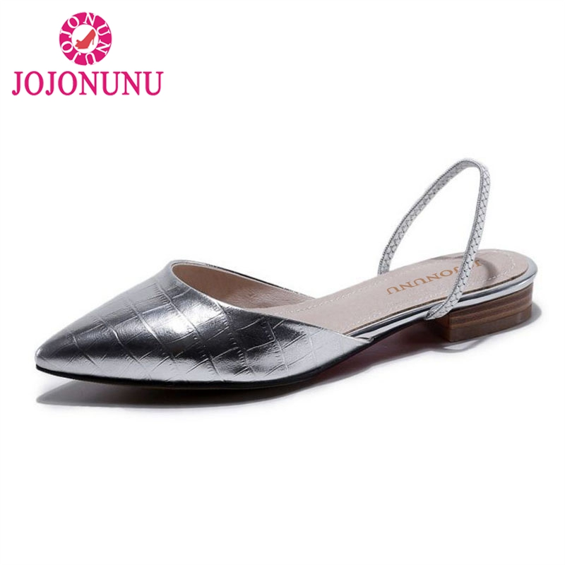 JOJONUNU Size 33 43 Sexy Women Real Genuine Leather Flats Sandals Pattern Pointed Toe Flat Slippers Women Fashion Summer Shoes-in Women's Sandals from Shoes    1