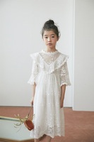 Sweet Princess Kids Girls Floral Embroidered Tulle Lace Party Dress Candy White Purple Color Summer Holiday Dress
