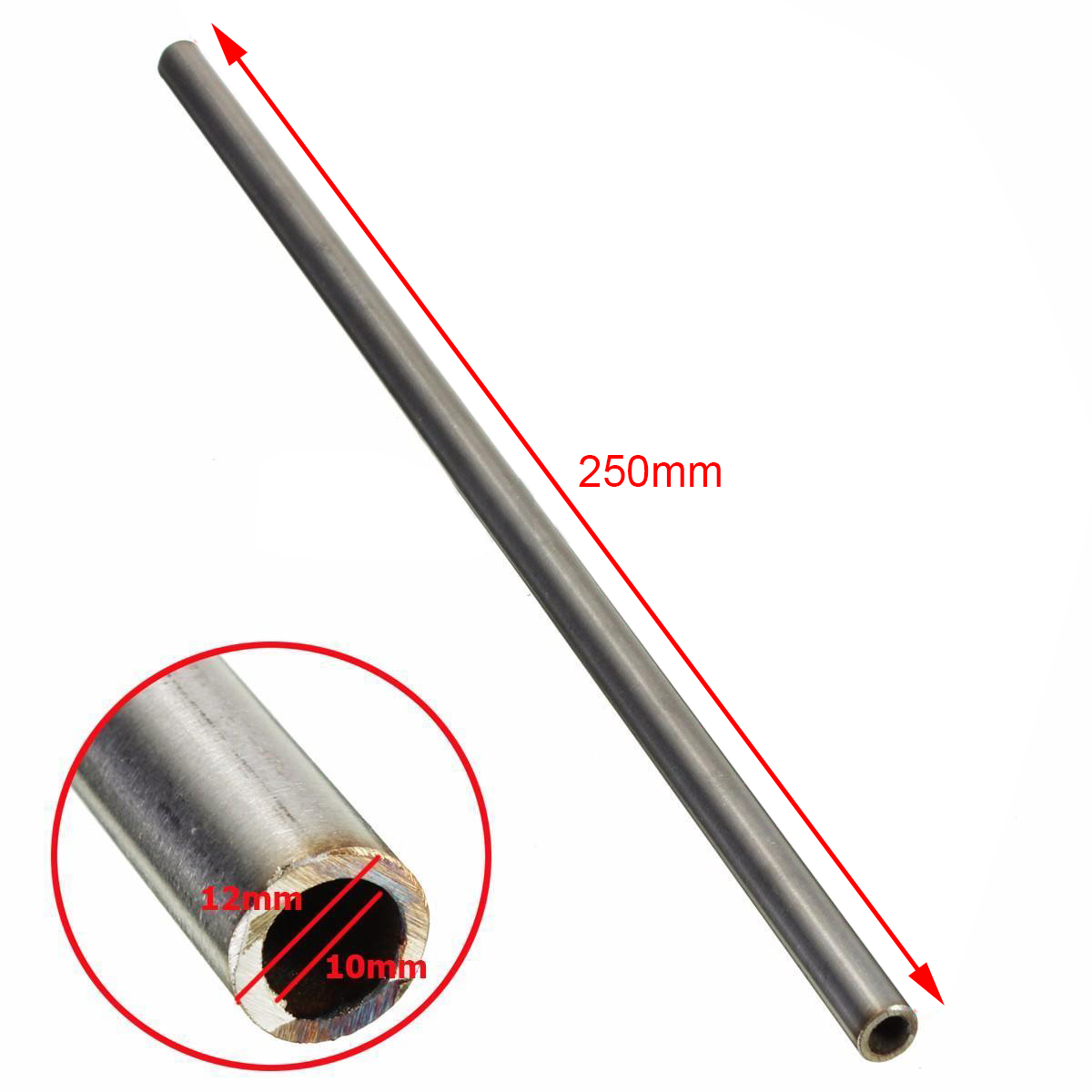 1pc 304 Stainless Steel Capillary Tube Pipe 12mm OD 10mm ID 250mm Length Silver For Home Industry Tools 22 12 200mm od id length brass seamless pipe tube of astm c28000 cuzn40 cz109 c2800 h59 hollow bar iso certified industry