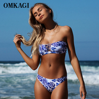 New Arrival Bikini 2017 Women Brazilian Bikini Set Strapless Print Summer Halter Bandage Swimwear Adjustable Beach