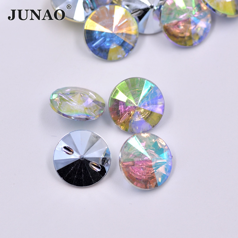 JUNAO 13 15 22 25 30 34mm Crystal AB Sew Rhinestone Buttons Round Sewing Acrylic  Crystal Button Scrapbook Beads for Coats Crafts 33bde37bd641