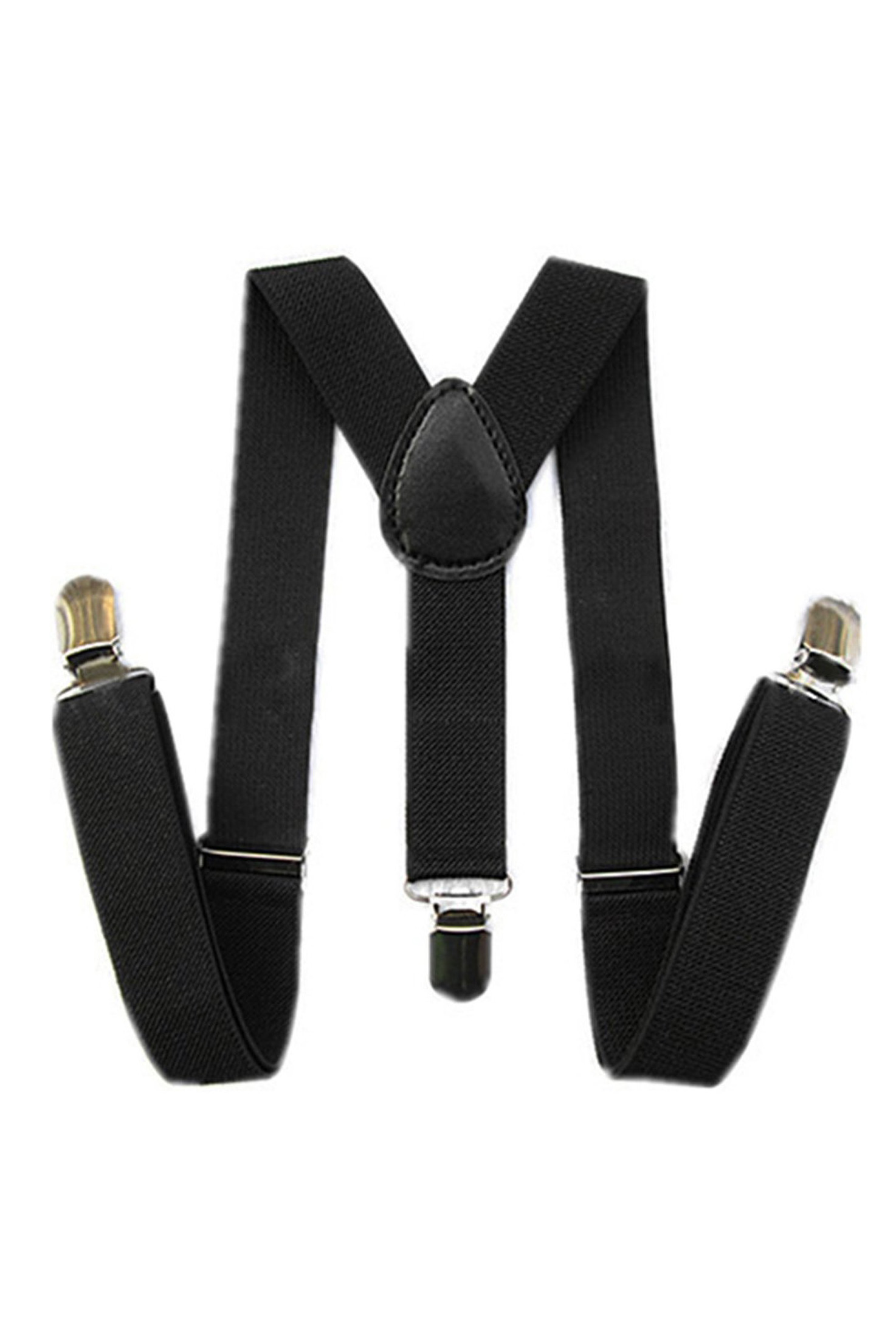 Kids Boys Girls Y-Back Suspender Elastic Adjustable Clip-On Braces Black