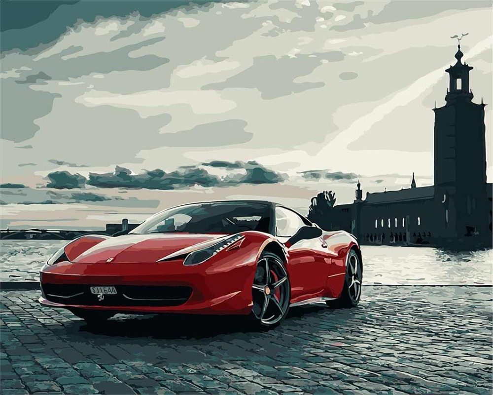Red Ferrari sports car coloring by numbers wall art pictures for living room diy oil canvas painting cuadros paintings